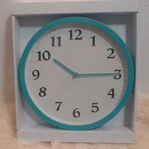 At Home Turquoise Clock 11X11
